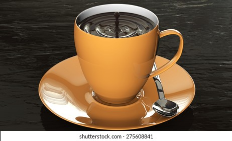 orange cup of delicious hot chocolate 3d rendering