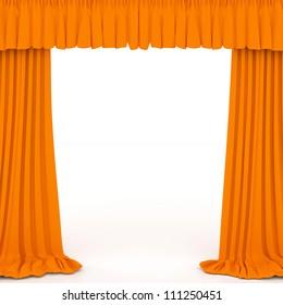 orange curtains on the white background
