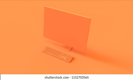Orange Desktop Computer and Slim Keyboard 3d illustration