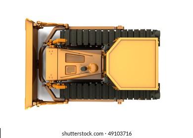 Orange dirty bulldozer isolated on white background. Top view