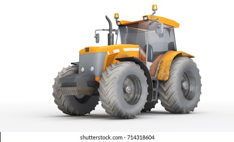 Orange dirty wheel harvesting tracktor isolated on white background. Front side view. Perspective. 3D illustration