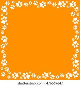 Orange Dog Paw Border