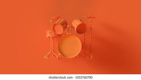 Orange Drum Kit 3d illustration