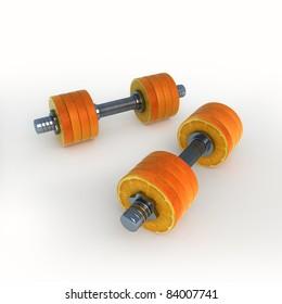orange dumbbells