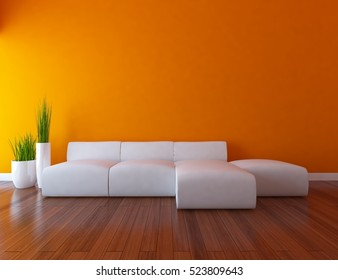 orange empty interior with a white sofa and vases. 3d illustration
