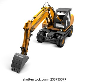 Orange excavator with a bucket for digging
