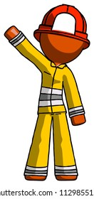 Orange Firefighter Fireman man waving emphatically with right arm