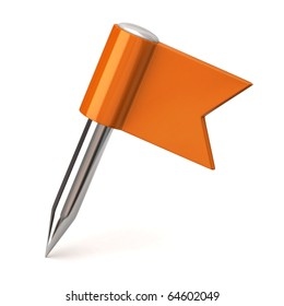 Orange flag pin on a white background