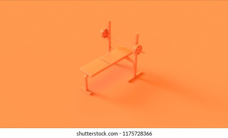 Orange Flat Weight Bench 3d illustration 3d rendering