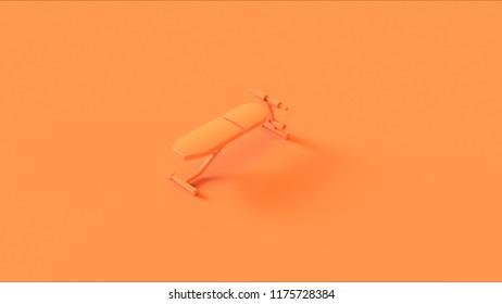 Orange Flat Workout Bench 3d illustration 3d rendering