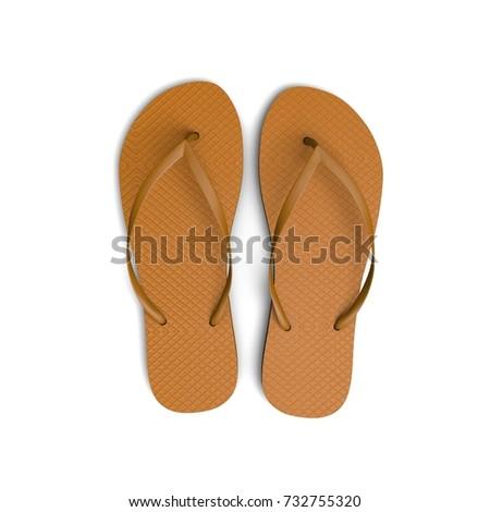 7aa265870403 Orange Flip Flop Sandals On White Stock Illustration 732755320 ...