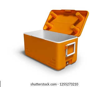 Orange fridge portable open for cooling for drinks isolated 3d render on white background with shadow
