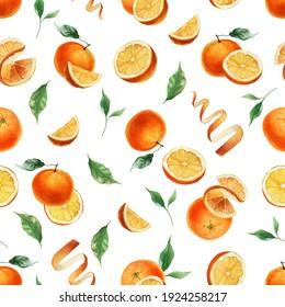 Orange fruit, peel and slice. Seamless pattern. Watercolor painting. Summer design.