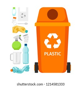 Orange garbage can with plastic garbage elements, illustration