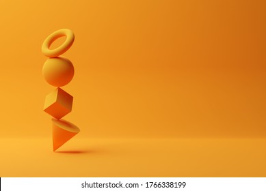 Orange geometric primitives, sphere, cone, cube and torus stacked on orange background, modern minimal template concept with copy space, 3D illustration