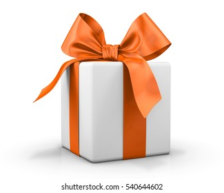 orange gift box ribbon 3d  rendering