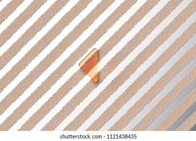 Orange Glass Caret Left Icon on the Silver Stripes Background. 3D Illustration of Orange Arrow, Back, Care, Caret, Left, Previous Icon Set With Fur Striped Silver Background.