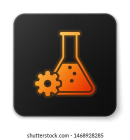 Orange glowing Bioengineering icon isolated on white background. Element of genetics and bioengineering icon. Biology, molecule, chemical icon. Black square button