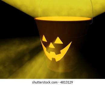 "Orange glowing ""jack-o-lantern"" bucket for Halloween. 3D Rendering."