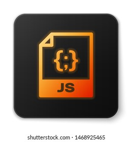 Orange glowing JS file document icon. Download js button icon isolated on white background. JS file symbol. Black square button