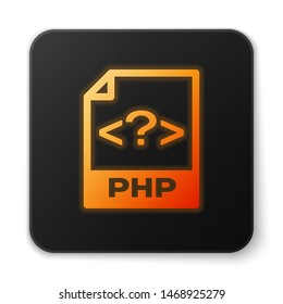 Orange glowing PHP file document icon. Download php button icon isolated on white background. PHP file symbol. Black square button