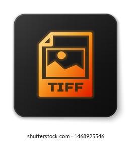 Orange glowing TIFF file document icon. Download tiff button icon isolated on white background. TIFF file symbol. Black square button