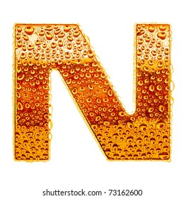 Orange gold alphabet symbol - letter N. Water splashes and drops on glossy metal. Isolated on white