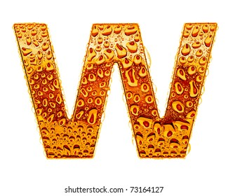 Orange gold alphabet symbol - letter W. Water splashes and drops on glossy metal. Isolated on white