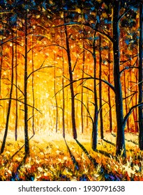 Orange gold trees in park alley forest texture impressionism original oil painting art background landscape
