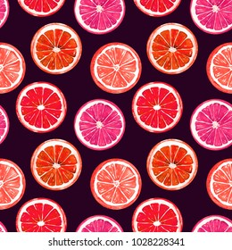 Orange and grapefruit, seamless pattern design, hand painted watercolor illustration, dark background