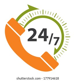 Orange and Green 24/7 Call Center Icon, Badge, Label or Sticker for Customer Service, Support or CRM Concept Isolated on White Background