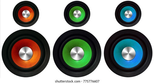 orange, green and blue Speakers on a white background, 3D illustration