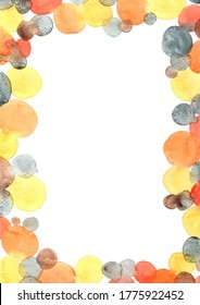 Orange, Grey and black polka dot watercolor border for decoration on Halloween party and autumn festival.