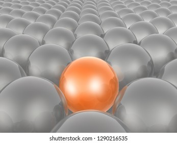 Orange and grey spheres as abstract background, 3D illustration.