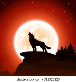 Orange Halloween night background with wolf and Moon, illustration.
