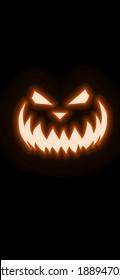 Orange Halloween pumpkin neon art