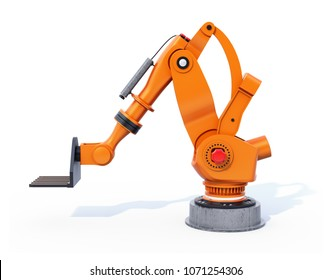 Orange heavyweight robotic arm isolated on white background. 3D rendering image.