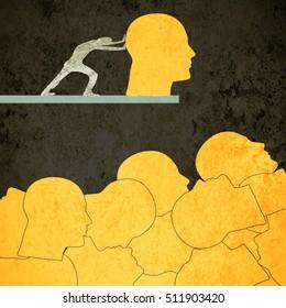 orange human heads digital illustration