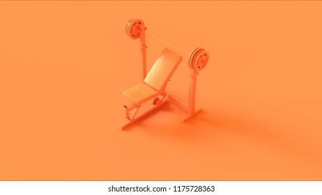 Orange Incline Weight Bench 3d illustration 3d rendering