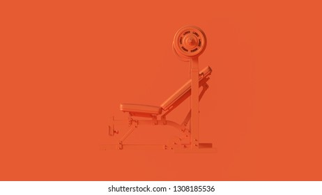 Orange Incline Weight Bench 3d illustration