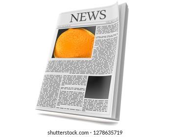 Orange inside newspaper isolated on white background. 3d illustration