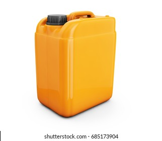 Orange jerrycan isolated on white background 3d render