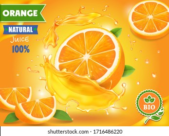 Orange juice advertising realistic design 3d illustration