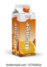Orange juice carton cardboard box pack isolated on white background. 3d illustartion