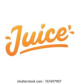Orange juice, handwritten lettering with juicy drops. Isolated logo, modern hand drawn text.