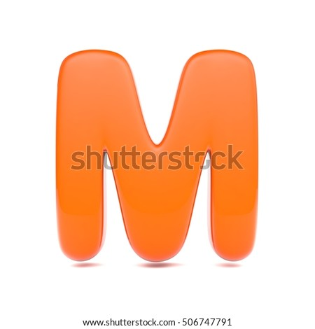 orange juice letter m uppercase 3d render of bubble font with glint isolated on white