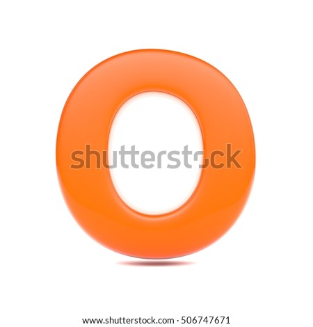 orange juice letter o uppercase 3d render of bubble font with glint isolated on white