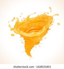 Orange Juice tornado or Twister shape Splash, 3d illustration.
