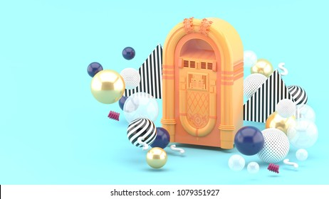 Orange jukebox among colorful balls on a blue background.-3d render.