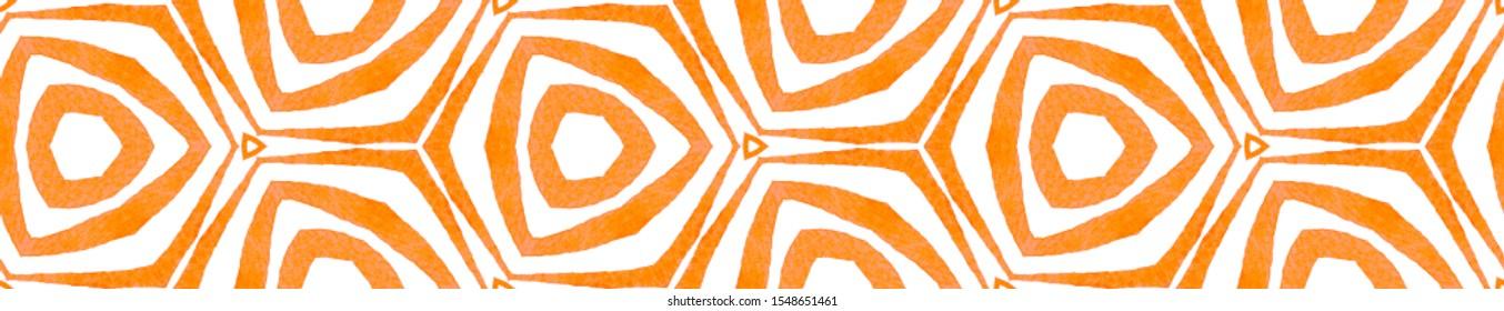 Orange kaleidoscope Seamless Border Scroll. Geometric Watercolor Frame. Breathtaking Seamless Pattern. Medallion Repeated Tile. Admirable Chevron Ribbon Ornament.